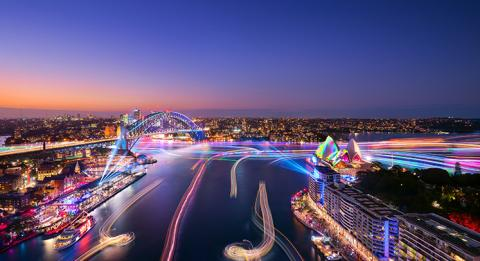 Views of Harbour Lights installations on marine vessels moving across Sydney Harbour during Vivid Sydney 2018