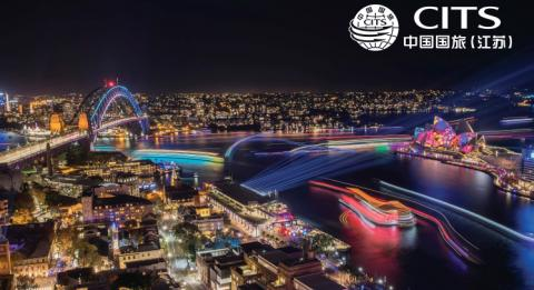 Aerial views across The Rocks and Sydney Harbour during Vivid Sydney 2017.