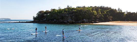 在曼利 (Manly) 贝壳海滩 (Shelly Beach) 挑战立式单桨冲浪